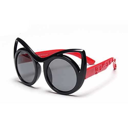 Creamily Kids Cat Eye Sunglasses Polarized Round Lens Boys Girls Glasses Flexible Rubber Frame Eyeglasses Age 2 to 10 (Black frame Red arms)