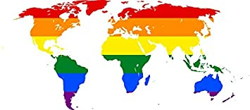 Amazon laminated 55x24 poster rainbow world map symbol lgbt laminated 55x24 poster rainbow world map symbol lgbt glbt pride banner icon lesbian gay bisexual gumiabroncs Gallery