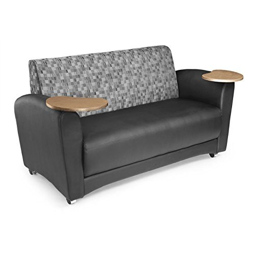OFM InterPlay Series Upholstered Guest / Reception Sofa, Nickel/Black, Bronze Tablet