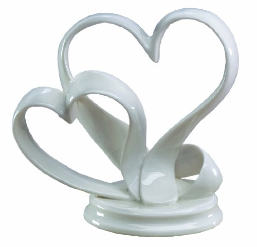 Ivy Lane Design Porcelain Double Hearts Cake Top, White, (Porcelain Wedding Cake Top)