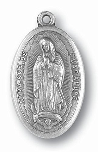 Juan Diego Guadalupe - Gifts by Lulee, LLC Our Lady of Guadalupe and Juan Diego Pray for Us Blessed Medal Silver Oxidized