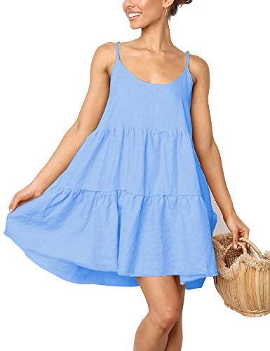 - LOMON Casual Swing Dress Strap Mini Dress Babydoll Backless Dress Swim Cover Up(LightBlue,XXL)