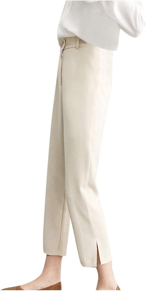 Pantalones para Mujer Rectos Primavera Cintura Alta LuckyGirls 2020 Chic Pantalones Mujer Anchos Tallas Grandes Verano Vestir Pantalones Mujer Largos Elegantes con Aberturas