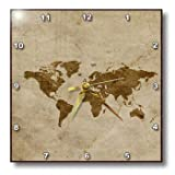 3dRose dpp_119636_3 Vintage World Map on Papyrus Paper Wall Clock, 15 by 15-Inch