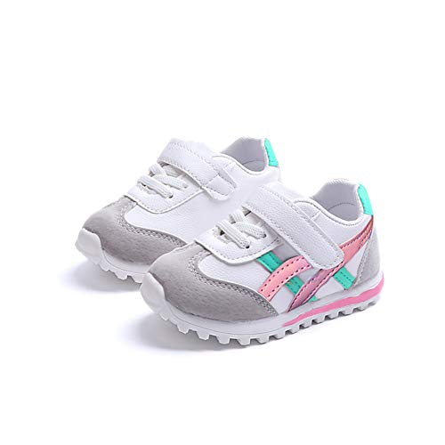 EsTong Toddler Pu Leather Baby First Walkers Boys Girls Sneakers Kids Running Shoes Pink 4M US Toddler (Baby Sneakers Girls)
