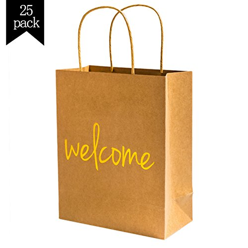 Crisky Kraft Paper Welcome Gift Bags Set of 25 Wedding Welcome Bags for Hotel Guests Shopping Merchandise Bags Party Bags Gift Bags Retail Bags, 4x8x10 inch Load-Bearing 8 lbs