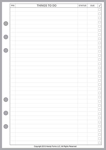A5 Size to Do List Planner Pages, Sized and Punched for 6-Ring A5 Notebooks by Filofax, LV (GM), Kikki K, TMI, and Others. Sheet Size 5.83 x 8.27 (148mm x 210mm)