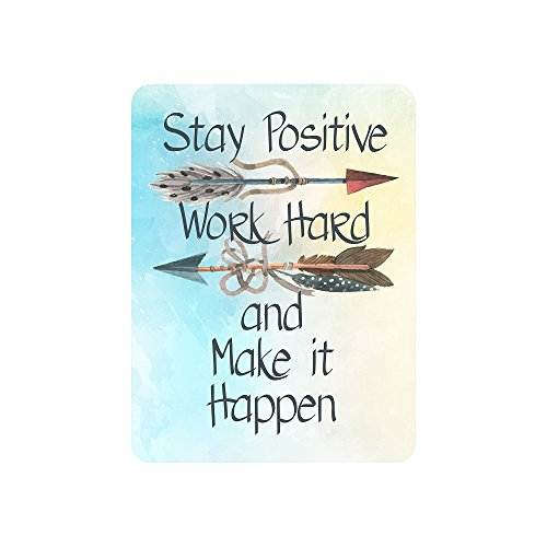 Motivational Signs for Home & Office, 10.5 x 8.5 'Stay Positive, Work Hard & Make It Happen' Inspirational Signs, Inspirational Wall Art Tin Signs w/ Motivational Quotes, Cute Inspirational Wall Signs