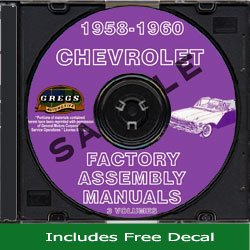 Read Online 1958 1959 1960 Chevy Assembly Manual Biscayne Bel Air Impala El Camino CD (with Decal) pdf epub