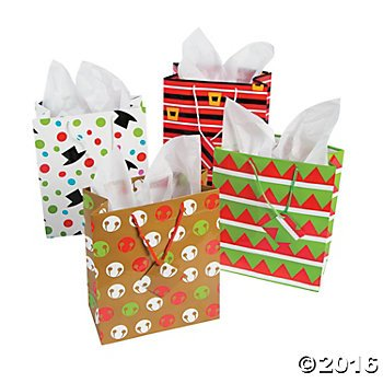 Medium Holiday Gift Bags for Wrapping Christmas Holiday Treats and Goodies Two Dozens