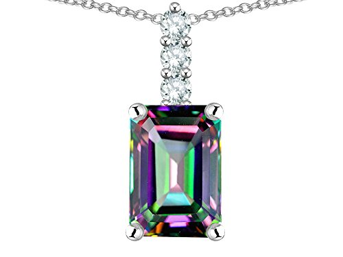 - Star K 8x6mm Octagon Emerald Cut Rainbow Mystic Topaz Three Stone Pendant Necklace 14 kt White Gold