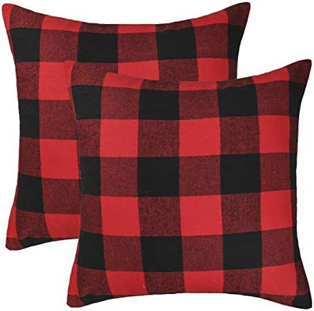 4th Emotion Set Of 2 Christmas Buffalo Check Plaid Throw Pillow Covers Cushion Case Cotton Polyester For Farmhouse Home Decor Red And Black 20 X 20 Inches Home Kitchen Amazon Com
