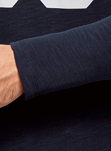 Oodji Maglia Lunga Ultra In A Cotone 7912p Uomo Manica Blu fwgqCTfS