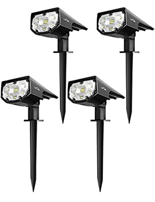 Litom Upgraded 12 LED Solar Landscape Spotlights, IP67 Waterproof Solar Powered Wall Lights 2-in-1 Wireless Outdoor Solar Landscaping Lights for Yard Garden Driveway Porch Walkway Pool Patio 4 Pack