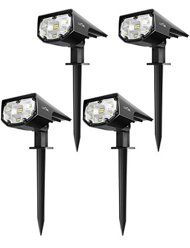 LITOM 12 LED Solar Landscape Spotlights, IP67 Waterproof Solar Powered Wall Lights 2-in-1 Wireless Outdoor Solar Landscaping Lights for Yard Garden Driveway Porch Walkway Pool Patio 4 Pack Cold White
