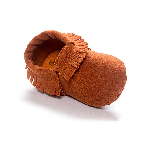 Kuner Baby Boys Girls Tassel Soft Soled Non-Slip Crib Shoes Moccasins First Walkers (13cm(12-18months), Brown-2)