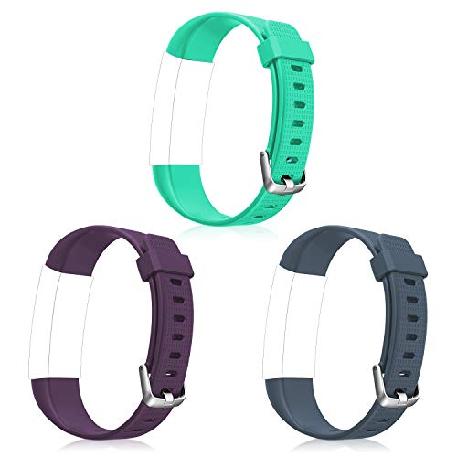 Letsfit ID130Plus Color HR Replacement Bands, Adjustable Accessory Bands Fitness Tracker ID130Plus Color HR, 3 Pack (Purple, Grey, Green)