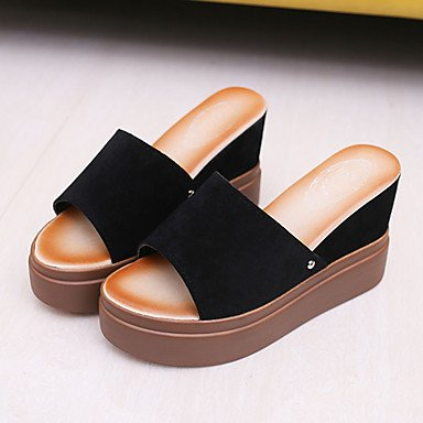 pwne Sandalias Mujer Club Pu Primavera Verano Vestidos Zapatos Casual Tacón Cuña Marrón Oscuro Verde Negro 3A-3 3/4 Pulg. US5.5 / EU36 / UK3.5 / CN35