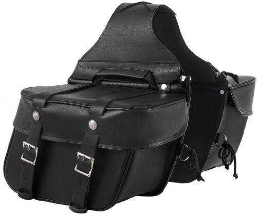 Genuine Motorcycle Leather Saddlebag (True Element Genuine Leather Motorcycle Saddlebag with Quick Release Clips (Black))