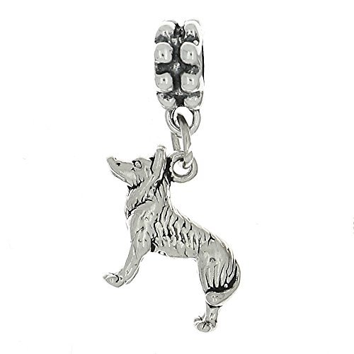 Lgu Sterling Silver Oxidized Siberian Husky Dog Dangle Bead Charm