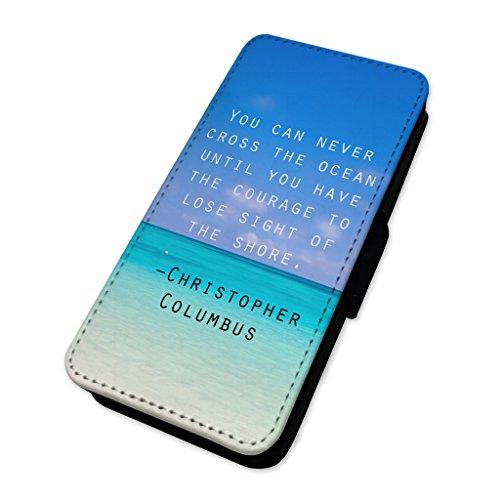 Christopher Columbus Travel quote–Flip cover in pelle cover Apple Iphone 8 Plus