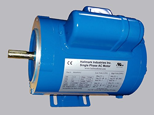 AC MOTOR, 1/2HP, 1725RPM, 1PH/60HZ, 115/208-230VAC, 56C/ODP, CAP START, WITH FOOT, SF 1.15 (Bolt 56c)