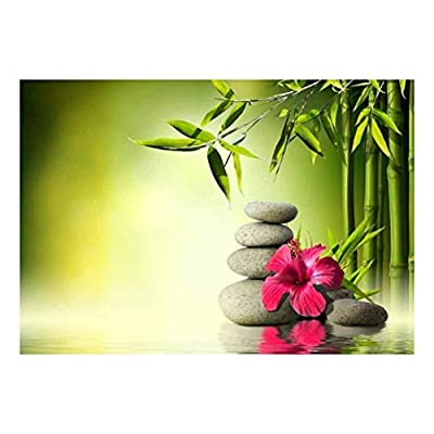 Rocks and a Hibiscus Flower Over a Lake Next to Bamboo Trees - Wall Mural, Removable Sticker, Home Decor - 100x144 inches