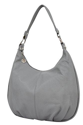 AMBRA Moda - Bolso de tela de Piel para mujer azul azul oscuro XX-Large gris