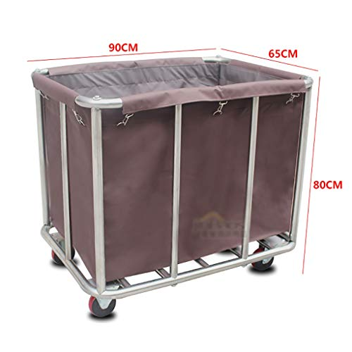 Hotel Cart, Stainless Steel Thick Linen car Hotel Hotel Room Cleaning Hand Push Work car (Color : B) by HT trolley (Image #3)