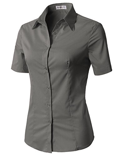 (CLOVERY Women's Basic Stretchy Cotton Button Down Shirts with Plus Size Grey XL)