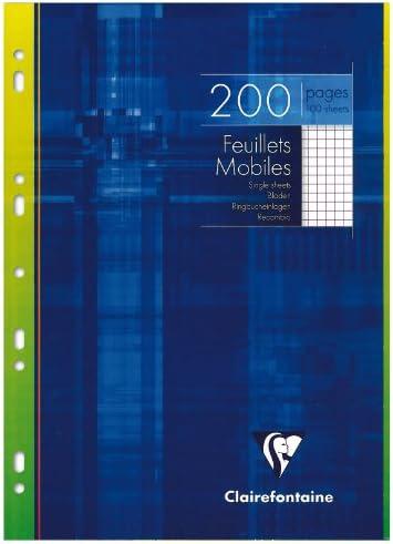Clairefontaine 1752C Ringbucheinlagen Packung (mit 100 Blatt DIN A4, 21 x 29,7 cm, kariert, 90g, ideal für die Schule) weiß