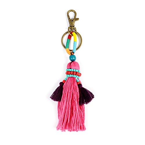 Tassel Keychain Bag Charms - Car Mirror Hanging Accessories, Great for Sisters, Friends, Kids (Pink tassel) ()