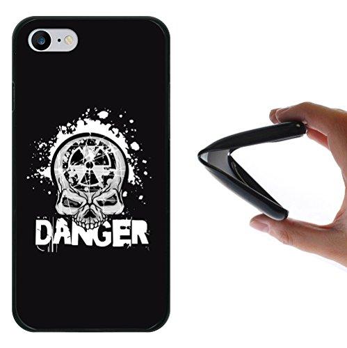 iPhone 8 Hülle, WoowCase Handyhülle Silikon für [ iPhone 8 ] Gefahr Schädel Handytasche Handy Cover Case Schutzhülle Flexible TPU - Schwarz