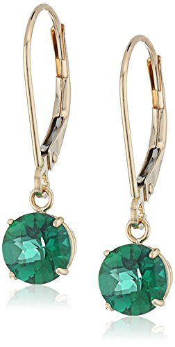 (10k Yellow Gold Round Checkerboard Cut Created Emerald Leverback Earrings)