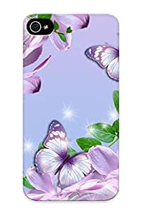 Hot Design Premium XleONIh261ZiDki Tpu Case Cover Iphone 4/4s Protection Case (lilies And Butterflies )
