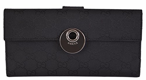 Gucci Continental Long Wallet - Gucci Women's Black Canvas GG Guccissima Continental W/Coin Wallet