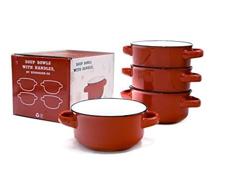 Baking Serving Ceramic Red 16 Oz Soup Bowls with Handles - Set of Four - Stoneware Chowder Bisque Pot Pie Crocks (Serving Crocks)