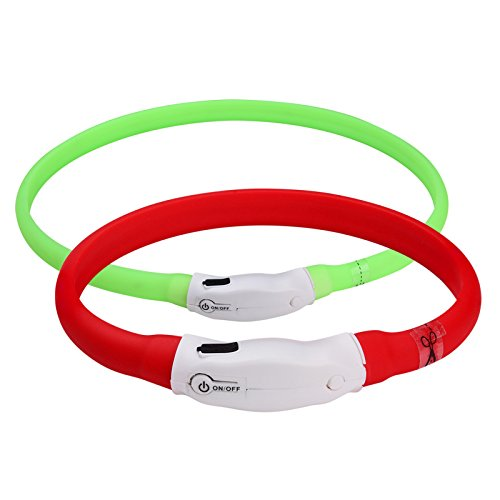 Chukchi Led Dog Collar Usb Rechargeable  Glowing Pet Dog Collar For Night Safety  Water Resistant Light Up Collar For Small Medium Large Dogs  Red Green