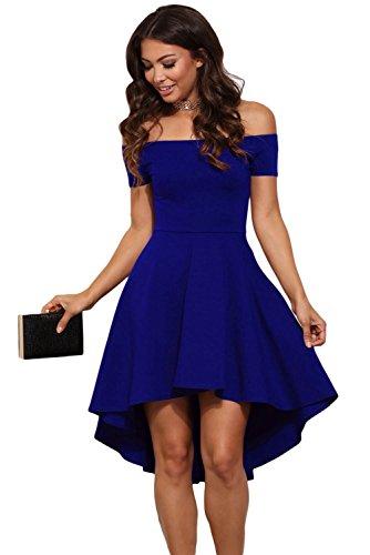 New Damen blau Off Schulter Skater Kleid Party Kleid Club Wear tragen Größe XL UK 14EU 42 mxCeBdX18