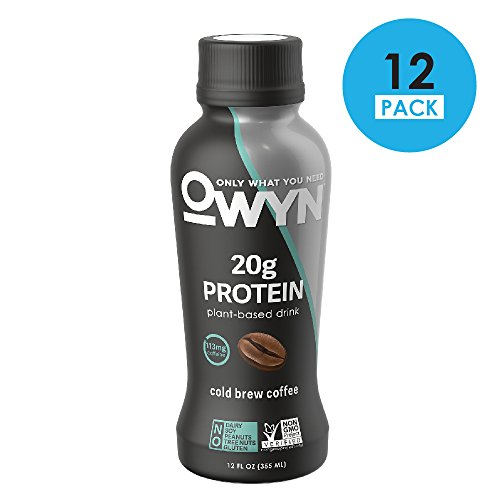 Brew Drink - OWYN 100-Percent Vegan Plant-Based Protein Shake, Cold Brew Coffee, Ready To Drink, Dairy-Free, Gluten-Free, Soy-Free, Allergy Friendly, Vegetarian, 12 fl. oz. Bottle, 12 Pack