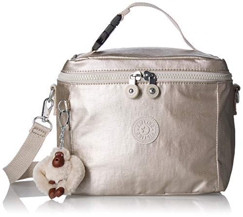 Kipling Graham Insulated Lunch Bag, Adjustable Crossbody Strap, Zip Closure, Cloud Grey/Metallic