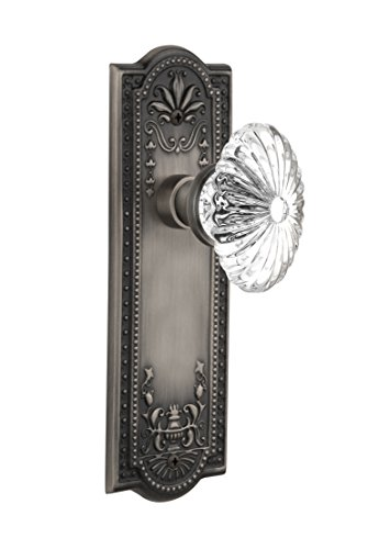 Nostalgic Warehouse Meadows Plate with Oval Fluted Crystal Glass Knob, Single Dummy, Antique (Meadows Door Knobs)