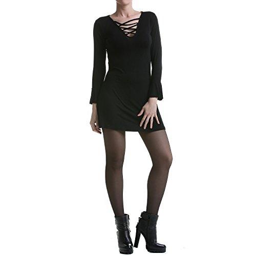 Schwarzes Kleid mit Schnürung