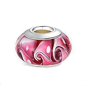 Pink Hawaii Murano Glass and Sterling Silver Bead Charm