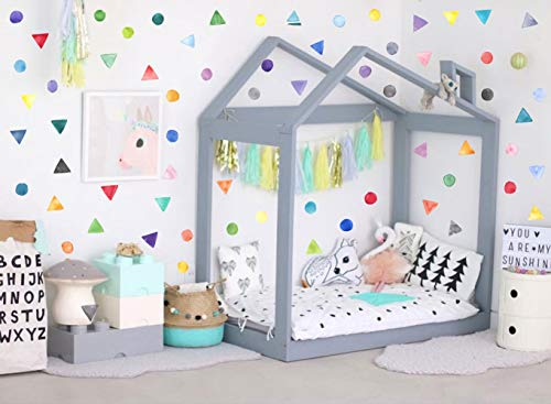 IARTTOP Watercolor Dots with Triangles Wall Decal (67pcs), Colorful Geometric Sticker for Kids Bedroom Classroom Decoration