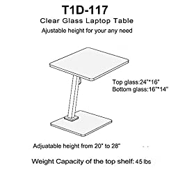 Tier One Designs Clear Glass and Aluminum Laptop Stand/End Table