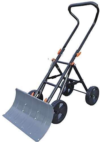 Heavy Duty Snow Pusher and Thrower, Foldable, Heavy Duty Steel Blade Remove 30cm New Snow, Wet/ice Snow with Ease.