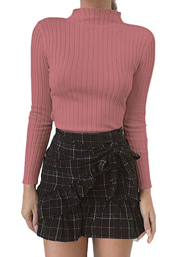 Belypoe Woman's Pleated High Neck Long Sleeve Ribbed Pullover T-Shirt Deep Pink S
