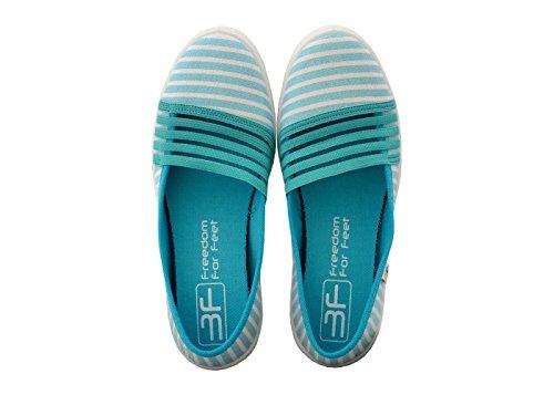 3f freedom for feet Mädchen Damen Schlupfschuhe Maximal Leicht - Sportschuhe Schulschuhe - Geschlossen Turnschuhe Ballerinas mit Streifen in 3 Farben Größe 36-41 Türkis (5LB-GŻ/4)