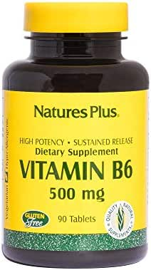 NaturesPlus Vitamin B6 (Pyridoxine HCI), Sustained Release - 500 mg, 90 Vegetarian Tablets - Energy & Metabolism Booster, Memory, Mood, Immune Support Supplement - Gluten-Free - 90 Servings